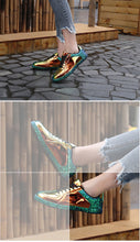chrome metallic sneakers patent leather shoes edgability detail view