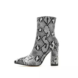 snakeskin boots heeled boots ankle boots edgability