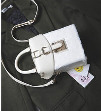 white bag box bag fur bag edgability top view