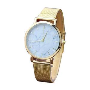 gold watch marble design dial edgability angle view