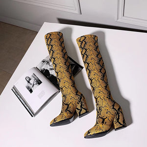 tan brown knee high snakeskin boots edgability top view