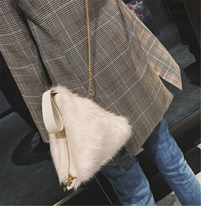 fur bag box bag in white edgability model view