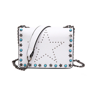 white star studded bag with rivets