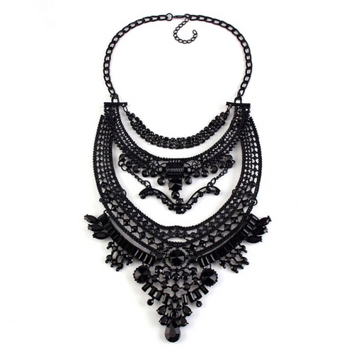 layered boho dylanex black statement necklace edgability