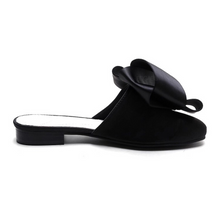 classy bow black flats side view edgability