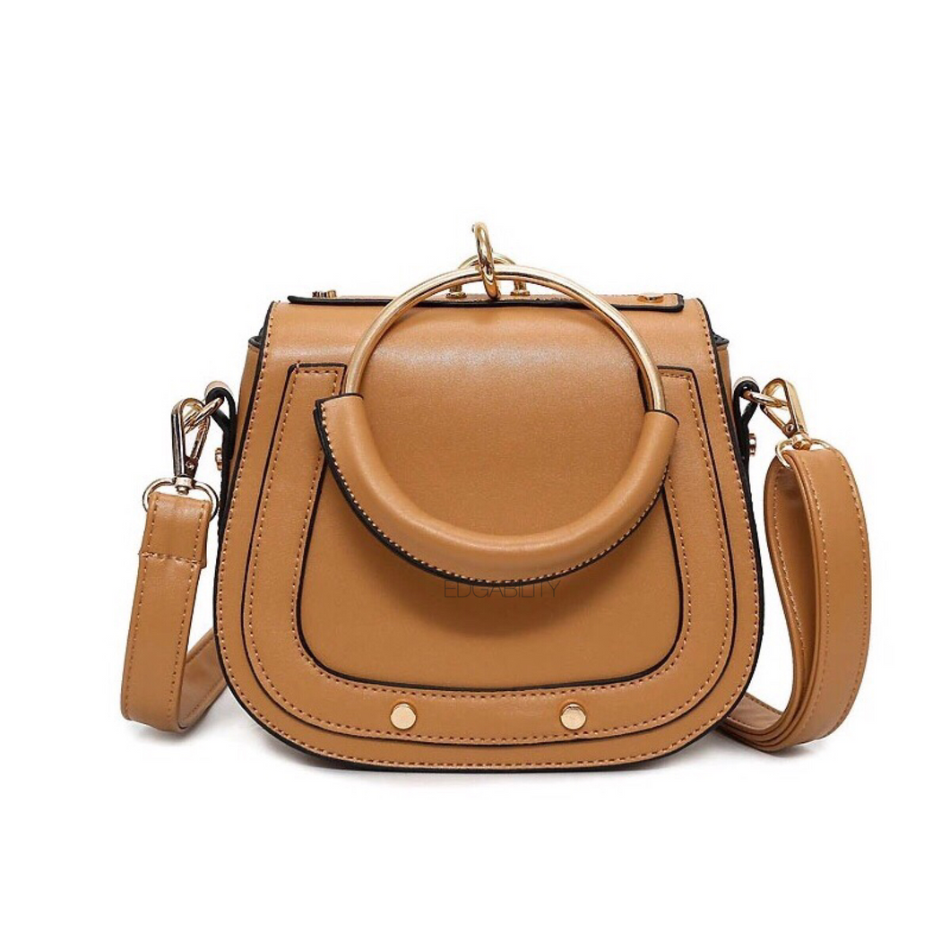 tan studded bag with hoop edgability