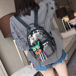 black rivets silver backpack model view edgability