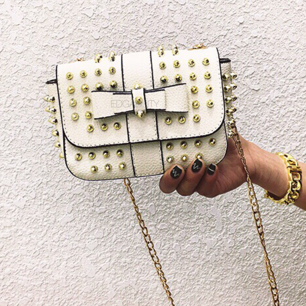 white party bag studded bag edgability