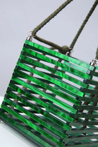 travel acrylic green bucket box bag edgability angle view