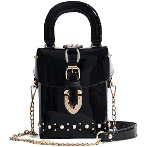 patent leather black bag box bag sling bag studded bag edgability
