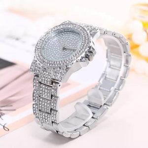crystal studded diamonte silver watch edgability angle view