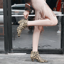 leopard boots ankle boots with heels edgability model view