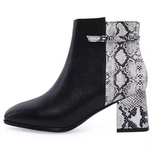 black boots ankle boots snakeskin boots with block heels edgability side view