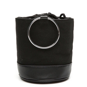 black bag bucket bag sling drawstring bag edgability front view