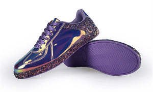 chrome metallic sneakers purple glitter trainers edgability side view