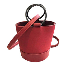 red bag bucket bag minimalist fashion edgability front view