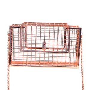 rose gold metallic bag box bag edgability front view