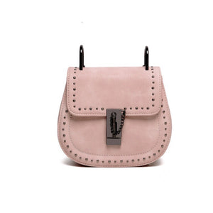pink studded bag edgy fashion edgability front view