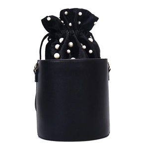pearl studded black drawstring bag edgability
