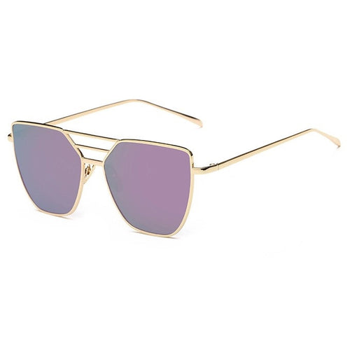 purple sunglasses with gold frames angle view edgability