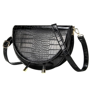 semi circle classy croc skin black bag sling bag edgability side view