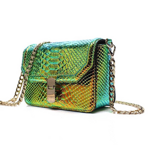 snakeskin bag chrome trendy bag edgability