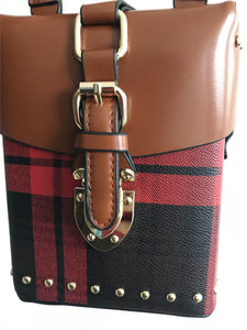 checkered studded bag box bag edgability front view