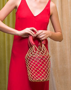 bucket bag basket drawstring bag red bag edgability model view