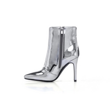 silver boots with heels edgability side view
