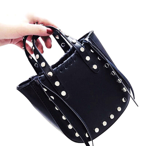 open black bucket bag silver studs edgability