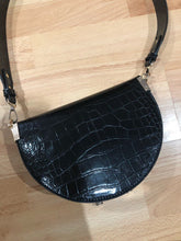 semi circle classy croc skin black bag sling bag edgability top view