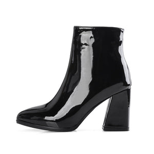 patent leather boots black boots ankle boots edgability side view