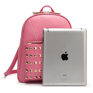 gold rivets light pink backpack fit edgability