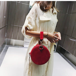 round bag sling bag red bag edgability model view
