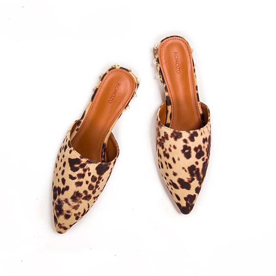animal print faux fur mules with pearls edgability front view