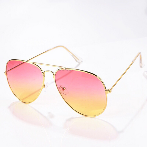 pink yellow ombre sunglasses with gold frames angle view edgability