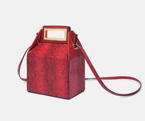 box bag snakeskin bag red bag bucket bag edgability side view