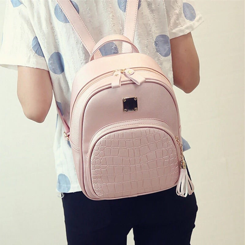 croc embossed pink mini backpack edgability
