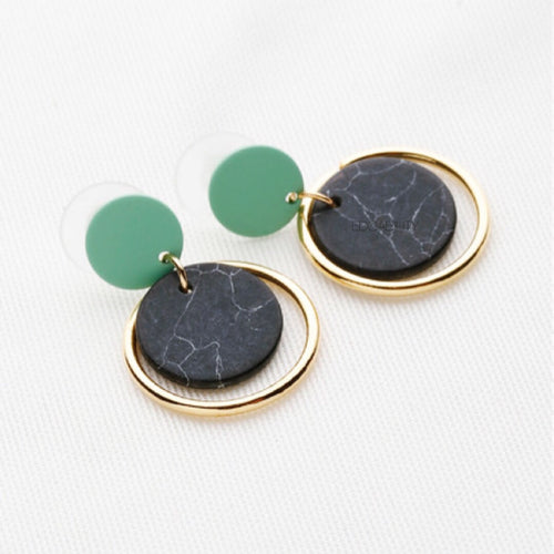 green drop black marble earrings with gold hoop edgability