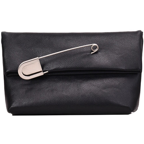 black clutch bag with safety pin edgability
