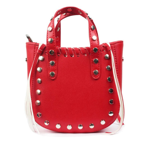 open red bucket bag silver studs edgability