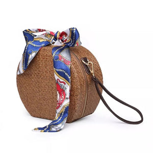 rattan bag round bag box bag wristlet with scarf edgability side view