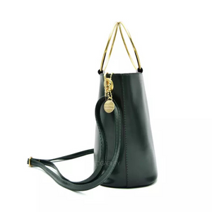 black bag bucket bag with ring handle edgability side view