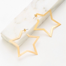 star hoops gold earrings edgability top view