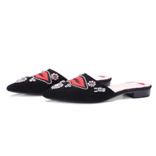 black flats with red lips and crystal stones side view edgability