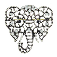 edgability oxidised silver elephant brooch with crystal stones front view