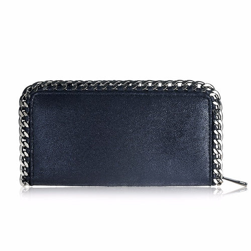 black wallet metallic wallet with chain edgability