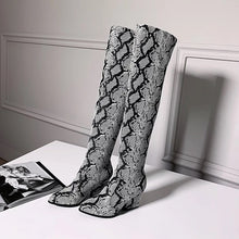 trendy knee high snakeskin grey boots with heels edgability full view