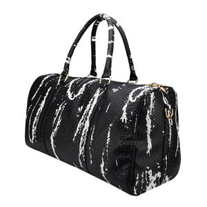 black and white bag marble travel bag edgability angle view