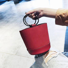 red bag bucket bag minimalist fashion edgability size view